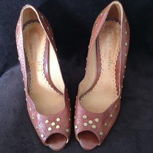 Bettye Muller Brown Leather Peep-toe